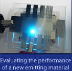 Evaluating the performance of a new emitting material